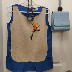 RSVP Blue Jute top with paradise flower embroidery
